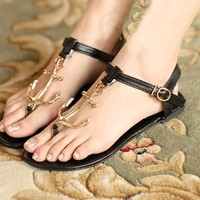 Metal Anchors Flat Sandals