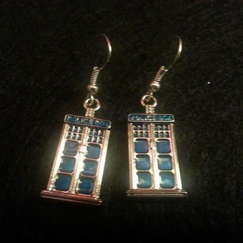 Tardis, Doctor who inspired, Blue, Blue earrings, scifi,Steampunk, Cosplay,Police Box, Tardis earrings