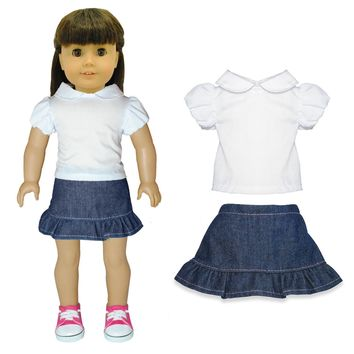 Doll Clothes Fits American Girl & Other 18 Inch Dolls Skirt & White Shirt Outfit