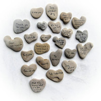 Love words - Unique Gift for him  Unique gift for her - personalized heart shaped stone