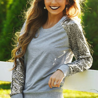 Sequined Sleeve Loose Sweater Shirt