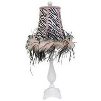Lamp with Zebra & Feathers Shade - Hobby Lobby