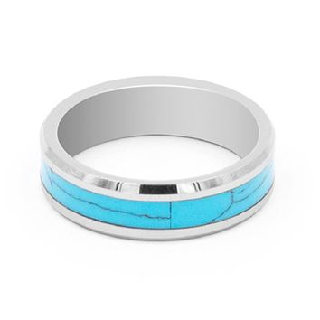 Turquoise Inlay Tungsten Carbide Ring