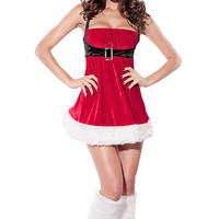 Red Spaghetti Strap  Empire Waist  A-Line Mini Christmas Costume