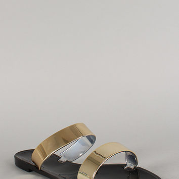 Bamboo Metallic Double Band Jelly Flat Sandal