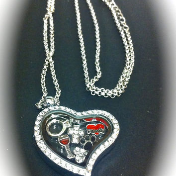 SALE Floating Crystal Heart Locket includes FREE Standard Chain