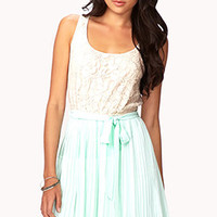 Pleated Combo Dress w/ Sash | FOREVER 21 - 2050381995