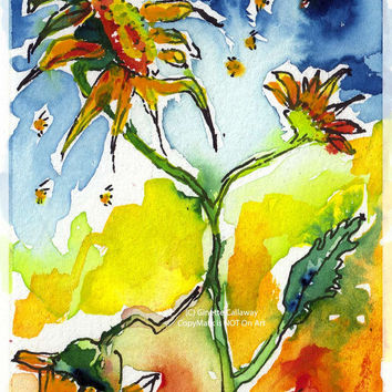 Sunflowers and Bees Provence Original ACEO Painting by Ginette Callaway  Watercolor and Ink