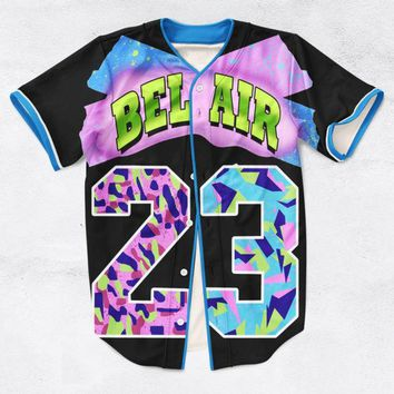 ONETOW 2 Colors Real AMERICAN USA Size Custom made Fashion 3D Sublimation Print Bel Air 23 - Fresh Prince Baseball Jersey Plus Size