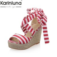 KARINLUNA Big Size 33-43 Fashion Stripe Brand Ankle Knot Women Shoes Sweet Wedge High Heels Platform Woman Party Sandals