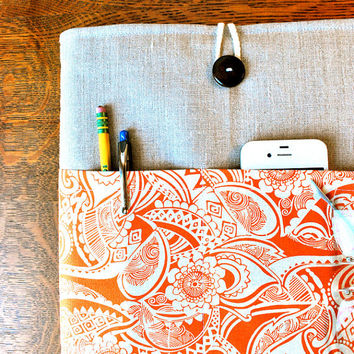 13 inch laptop Macbook Mac book Pro or Macbook Air Cover Padded Case Sleeve - Linen with Pumpkin Spice Fabric Pocket