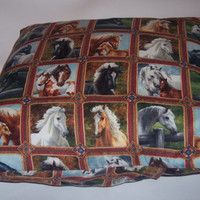 Decorative Pillow Cover, Throw pillow Cover Single 16 x 16, Horses, Arabian, Palomino, Paint, Pinto,