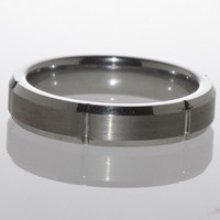 Mens Wedding Band Tungsten Ring Multiple Vertical Grooves Brushed Center 5mm