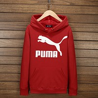 PUMA Women Men Lover Casual Print Long Sleeve Hoodie Top Hooded Sweater Pullover(7-Color) Red I-YSSA-Z