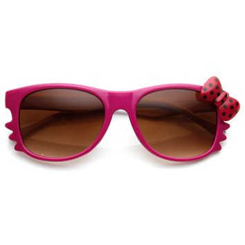 Polka-Dot Bow Two-Tone Color Kitty-Cat Horn Rimmed Sunglasses