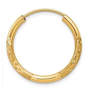 Single 14k Yellow Gold Diamond Cut Endless Hoop Earring (2mm) (17mm)