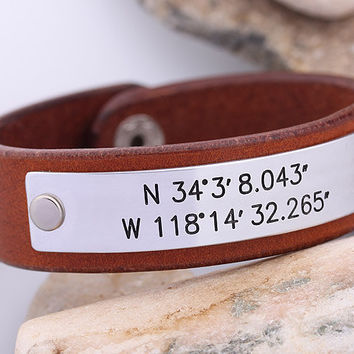 Latitude Longitude GPS Leather Bracelet - Hand Stamped Leather Cuff - Mens Leather Bracelet -  Graduation Gift