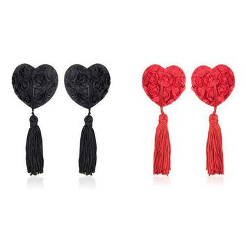 ac DCCKO2Q Sexy Toys Body jewelry ring Women Lingerie lace heart flower Tassel Breast Bra Stickers Cover TAIERS