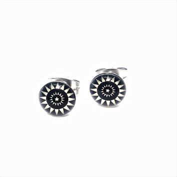 White Tribal Print Stainless Steel Studs