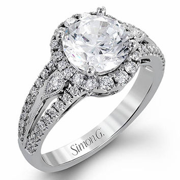 Simon G. 18K White Gold Diamond Halo Split Shank Engagement Ring