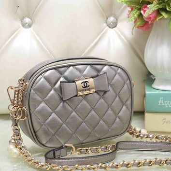 Chanel Cute Bow Mark PU&Metal Shoulder Bag Women Girl Small Round Bag B-OM-NBPF Grey