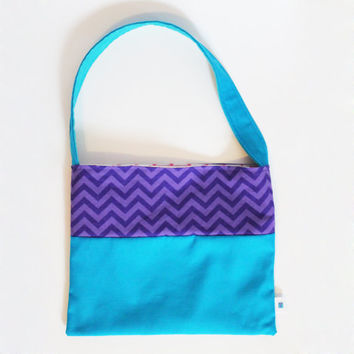 Reversible Toddler Tote Bag, Kid's Shoulder Bag, Chevron, Purple, Blue, Pink, Turquoise, Cute Girl's Handbag, Girly Accessory, Washable bag