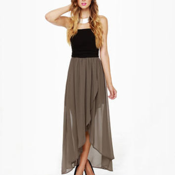 Sexy Strapless Dress - Taupe Dress - High-Low Dress - $57.00