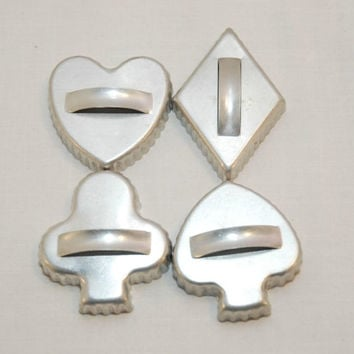 Vintage Aluminum Card Suit Cookie Cutters (c. pre-1998) Heart, Spade, Diamond, Clubs, Bridge, Card Playing, Card Deck Cookie Cutters