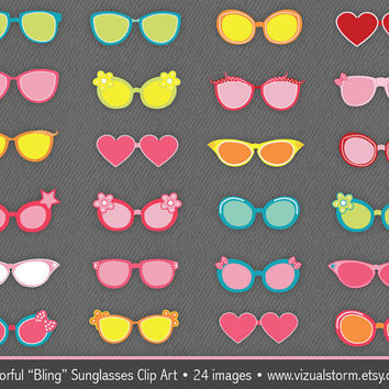 Colorful Bling Sunglasses Clip Art, pink, blue, green, yellow & red, decorative rhinestone glasses, Buy 2 Get 1 Free, Instant Download