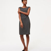 Petite Striped Side Shirred Dress | LOFT
