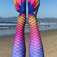 Mermaid Orange Knee High Socks