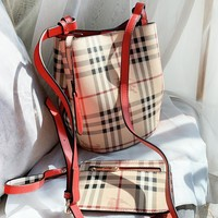 Burberry New fashion plaid leather shoulder bag crossbody bag two piece suit