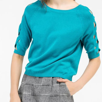 Sky Blue Cut Out Half Sleeve Knitted Sweatshirt