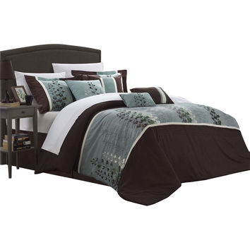 Evasco Evan Florals 12 Piece Comforter Set Bed In A Bag King & Queen Brown