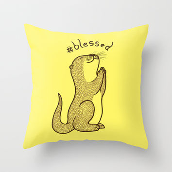 Fortunate Otter Throw Pillow by SteveOramA