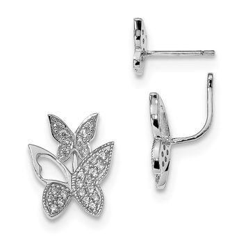 925 Sterling Silver Rhodium-plated CZ Butterfly Front and Back Earrings