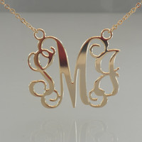 Gold Monogrammed Necklace - 1.5 Inch 18k Gold Plated - Monogrammed Gifts