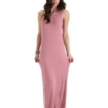 Lyss Loo Ascension Contemporary Mauve Hooded Maxi Dress