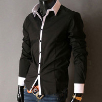 Korea Men's Stylish Slim Fit Casual Long Sleeve Shirt Tops Button-Front