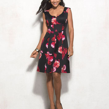 Floral Scuba Fit-and-Flare Dress