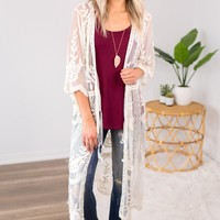 Sheer Lace Duster- Natural