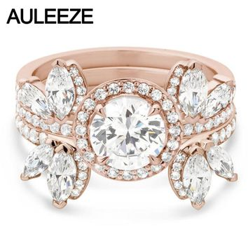 Unique Butterfly Art Deco 3 Piece Set Moissanites Wedding Sets 14K Rose Gold Ring Marquise Cut Lab Grown Diamond Engagement Ring