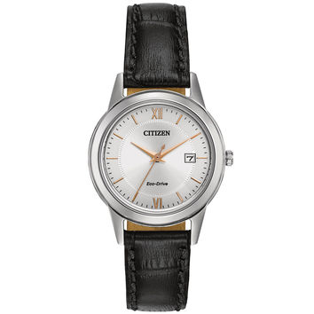 Citizen - Ladies' Eco-Drive Stainless Steel Black Leather Watch FE1086-04A
