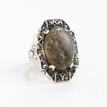 Antique Art Deco Sterling Silver Marcasite & Green Stone Ring - 1920s 1930s Size 2 1/2 Green Brown Stone Jewelry