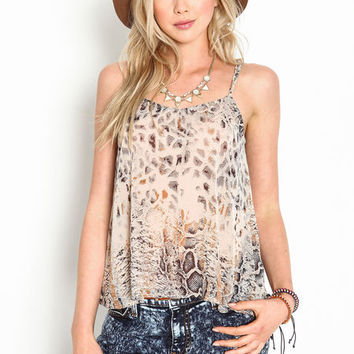 Animal Print Chiffon Cami Top