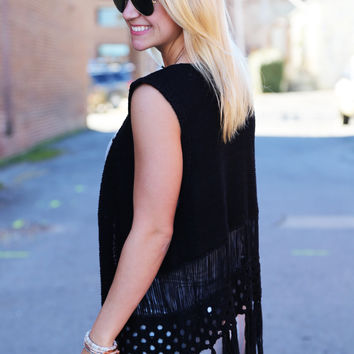 Knit Fringe Vest {Black}