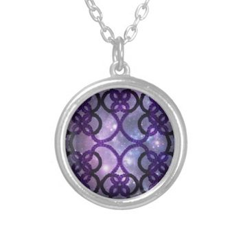 Fantasy Goth Purple Tatting Lace Night Sky Pendant