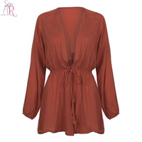 Red Drawstring Waist Pleated Romper Playsuit Long Sleeve Sexy Deep V Neck Casual Streetwear 2016 Summer Women