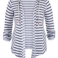 Plus Size - Striped Open Front Cardigan With Hood - Blue Jasmine Combo