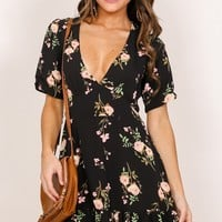 Making It Down dress in black floral Produced By SHOWPO